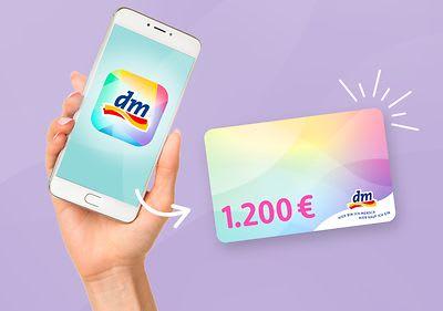 Mit der Mein dm-App bestellen & mit etwas Glück 1.200 € dm-Gutschein gewinnen