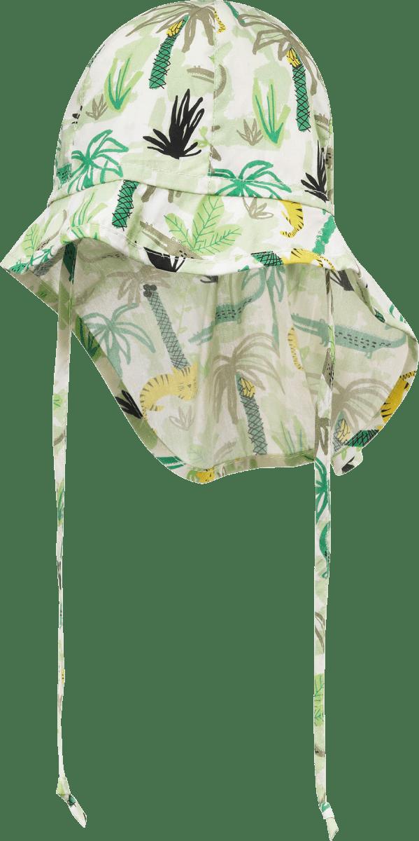Kinder Schildmütze, Gr. 44/45, in Baumwolle, grün, weiß, 1 St