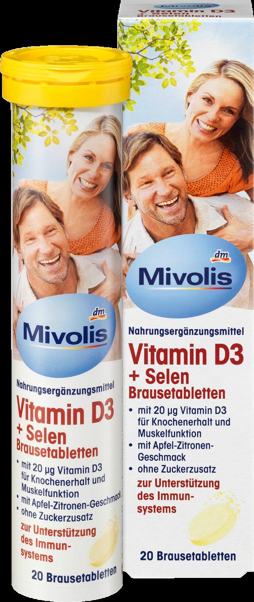 Vitamin D3 + Selen Brausetabletten, 20 St., 82 g