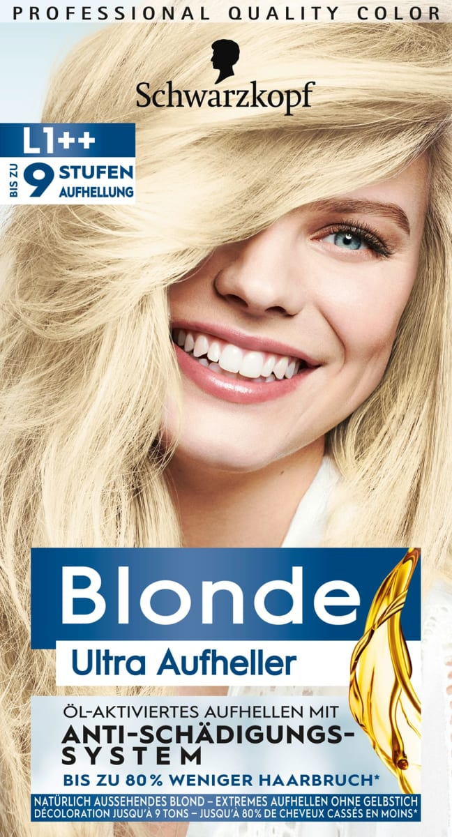 Blond auf schwarz gefärbte haare