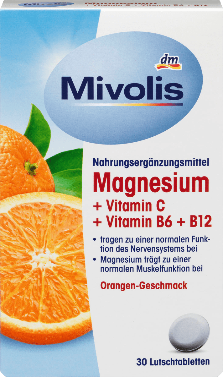 Magnesium + Vitamin C + Vitamin B6 + B12, Lutschtabletten, 30 St., 45 g